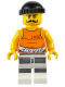 Minifig No: cty0612  Name: Police - Jail Prisoner 92116 Undershirt, Striped Legs, Black Knit Cap