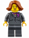 Minifig No: cty0623  Name: Dark Bluish Gray Jacket with Magenta Scarf, Dark Bluish Gray Legs, Dark Orange Female Hair Short Swept Sideways (Ferry Passenger)