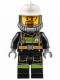 Minifig No: cty0626  Name: Fire - Reflective Stripes with Utility Belt, White Fire Helmet, Breathing Neck Gear with Airtanks, Trans Black Visor, Goatee