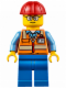 Minifig No: cty0630  Name: Orange Safety Vest with Reflective Stripes, Blue Legs, Red Construction Helmet, Glasses (TV Tower Technician)