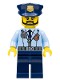 Minifig No: cty0633  Name: Police - City Officer, Zipper Jacket and Badge, Prison Island Police Chief