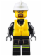 Minifig No: cty0649  Name: Fire - Reflective Stripes with Utility Belt and Flashlight, Life Jacket, White Fire Helmet, Brown Moustache and Goatee