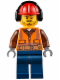 Minifig No: cty0653  Name: Fire - Orange Zipper, Safety Stripes, Belt, Brown Shirt, Dark Blue Legs, Red Construction Helmet, Headphones, Slight Smile, Stubble