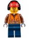 Minifig No: cty0653  Name: Fire - Orange Zipper, Safety Stripes, Belt, Brown Shirt, Dark Blue Legs, Red Construction Helmet, Headphones, Slight Smile, Stubble