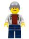 Minifig No: cty0654  Name: Light Bluish Gray Hoodie with Dark Red Shirt, Dark Bluish Gray Beanie, Dark Blue Legs