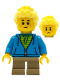 Minifig No: cty0657  Name: Boy, Dark Azure Hoodie with Green Striped Shirt, Dark Tan Short Legs, Freckles