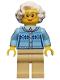 Minifig No: cty0660  Name: Grandmother - Fair Isle Sweater, White Hair, Tan Legs, Glasses