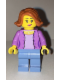Minifig No: cty0666  Name: Medium Lavender Jacket over Lavender Shirt, Medium Blue Legs, Dark Orange Female Hair Short Swept Sideways