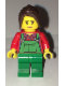 Minifig No: cty0667  Name: Lawn Worker - Pink Lips, Green Overalls over Plaid Shirt