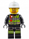 Minifig No: cty0669  Name: Fire - Reflective Stripes with Utility Belt and Flashlight, White Fire Helmet, Brown Moustache and Goatee, Soot Marks