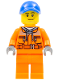 Minifig No: cty0674  Name: Tow Truck Driver - Orange Chest Pocket Zippers, Belt over Dark Gray Hoodie, Orange Legs, Blue Cap with Hole