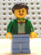 Minifig No: cty0675  Name: Customer - Green Female Jacket Open with Necklace, Medium Blue Legs, Dark Brown Ponytail and Swept Sideways Fringe