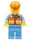 Minifig No: cty0677  Name: Orange Safety Vest with Reflective Stripes, Medium Blue Legs, Orange Short Bill Cap, Orange Sunglasses