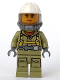 Minifig No: cty0681  Name: Volcano Explorer - Female Worker, Suit with Harness, Construction Helmet, Breathing Neck Gear with Airtanks, Trans-Black Visor