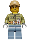Minifig No: cty0683  Name: Volcano Explorer - Male, Shirt with Belt and Radio, Dark Tan Cap with Hole, Crooked Smile and Scar
