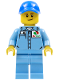 Minifig No: cty0689  Name: Medium Blue Uniform Shirt with Pocket and Octan Logo, Medium Blue Legs, Blue Cap with Hole, Lopsided Smile