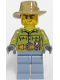 Minifig No: cty0694  Name: Volcano Explorer - Male, Shirt with Belt and Radio, Dark Tan Fedora Hat, Crooked Smile and Scar
