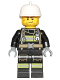 Minifig No: cty0696  Name: Fire - Reflective Stripes with Utility Belt, White Fire Helmet, Beard Stubble