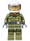 Minifig No: cty0697  Name: Volcano Explorer - Male Worker, Suit with Harness, White Helmet, Trans-Black Visor, Sunglasses