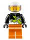 Minifig No: cty0698  Name: Xtreme Stunt Truck Driver, Male, Black Race Jacket, Orange Legs, White Standard Helmet