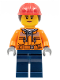 Minifig No: cty0700  Name: Construction Worker - Chest Pocket Zippers, Belt over Dark Gray Hoodie, Red Construction Helmet with Long Hair, Peach Lips