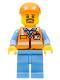 Minifig No: cty0704  Name: Orange Safety Vest with Reflective Stripes, Medium Blue Legs, Orange Short Bill Cap, Goatee