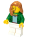 Minifig No: cty0706  Name: Green Female Jacket Open with Necklace, White Legs, Medium Dark Flesh Female Hair over Shoulder, Open Smile