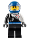 Minifig No: cty0712  Name: Buggy Driver, Checkered Race Torso, Blue Helmet, Black Legs