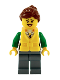 Minifig No: cty0713  Name: Angler Female, Sand Blue Legs, Reddish Brown Hair, Peach Lips, Life Jacket Center Buckle
