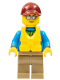 Minifig No: cty0714  Name: Angler Male, Dark Tan Legs, Dark Red Cap, Silver Sunglasses, Life Jacket Center Buckle