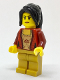 Minifig No: cty0724  Name: Female Corset with Gold Panel Front and Lace Up Back Pattern, Pearl Gold Legs, Black Hair Ponytail Long with Side Bangs