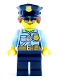 Minifig No: cty0732  Name: Police - City Officer Female, Bright Light Blue Shirt with Badge and Radio, Dark Blue Legs, Dark Blue Police Hat, Sunglasses