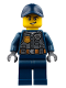 Minifig No: cty0734  Name: Police - City Officer with Dark Bluish Gray Vest with Badge and Radio, Dark Blue Legs, Dark Blue Cap