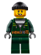 Minifig No: cty0735  Name: Police - City Bandit Male with Dark Green Zip Jacket, Dark Green Legs, Black Knit Cap