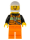 Minifig No: cty0736  Name: Fire - Reflective Stripe Vest with Pockets and Shoulder Strap, Orange Pants, White Helmet, Yellow, Peach Lips