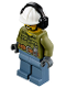 Minifig No: cty0740  Name: Volcano Explorer - Male, Shirt with Belt and Radio, Black Angular Beard, White Construction Helmet with Black Ear Protector / Headphones