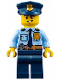 Minifig No: cty0743  Name: Police - City Shirt with Dark Blue Tie and Gold Badge, Dark Tan Belt with Radio, Dark Blue Legs, Police Hat with Gold Badge, Lopsided Grin