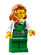 Minifig No: cty0745  Name: Police - City Bandit Female with Green Overalls, Dark Orange Female Hair over Shoulder, Peach Lips Smirk