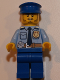 Minifig No: cty0752  Name: Police - City Shirt with Dark Blue Tie and Gold Badge, Dark Tan Belt with Radio, Blue Legs, Blue Police Hat, Black Stubble and Raised Right Eyebrow