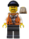 Minifig No: cty0754  Name: Police - City Bandit Male with Orange Vest, Black Knit Cap, Moustache Curly Long
