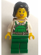 Minifig No: cty0755  Name: Police - City Bandit Female with Green Overalls, Black Mid-Length Tousled Hair, Backpack, Peach Lips Open Mouth Smile