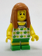 Minifig No: cty0761  Name: Beachgoer - Girl, Top with Apples and Green Legs with Yellow Stripes