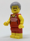 Minifig No: cty0766  Name: Beachgoer - Gray Female Hair and Red Old-Fashioned Swimsuit