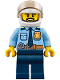 Minifig No: cty0776  Name: Police - City Officer Shirt with Dark Blue Tie and Gold Badge, Dark Tan Belt with Radio, Dark Blue Legs, White Helmet, Black Beard