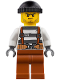 Minifig No: cty0777  Name: Police - City Bandit Crook Overalls 621 Prison Stripes, Dark Orange Legs, Black Knit Cap, Beard Stubble and Scowl