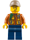 Minifig No: cty0790  Name: City Jungle Explorer - Dark Orange Jacket with Pouches, Dark Blue Legs, Dark Tan Cap with Hole, Cheek Scuff