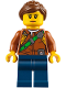 Minifig No: cty0791  Name: City Jungle Explorer Female - Dark Orange Shirt with Green Strap, Dark Blue Legs, Reddish Brown Ponytail and Swept Sideways Fringe