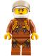 Minifig No: cty0794  Name: City Jungle Helicopter Pilot Female - Dark Orange Jumpsuit, Dark Orange Legs with Straps, White Helmet, Trans-Black Visor, Peach Lips