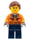 Minifig No: cty0798  Name: Cargo Center Worker - Chest Pocket Zippers, Belt over Dark Gray Hoodie, Dark Blue Legs, Reddish Brown Hair, Peach Lips