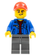 Minifig No: cty0800  Name: Truck Driver - Blue Jacket over Dark Red V-Neck Sweater, Dark Bluish Gray Legs, Red Cap with Hole, Lopsided Grin